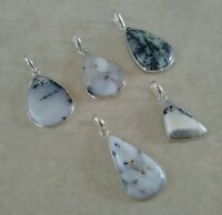 NATURAL PEAR DENDRITE OPAL 925 STERLING SILVER PENDANT NECKLACE CHARM SELECT ONE