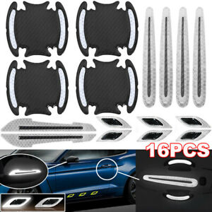 16pcs White Car Door Handle Bumper Safety Warning Tape Reflective Decal Stickers