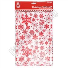 Christmas Table Cloth Wipe Clean Xmas Snowflake Red Cover PVC