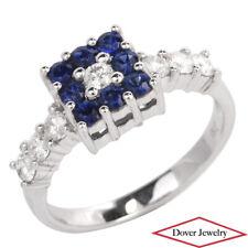 Estate Diamond 0.92ct Sapphire 18K White Gold Ring NR