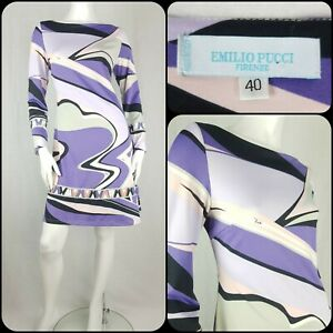 Emilio Pucci Firenze Pure Silk Jersey Dress Size IT 40/UK 12 A-line Psychedelic