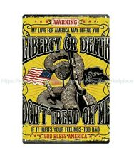 US SELLER,retro sign don't tread on me liberty or death snake gun metal tin sign