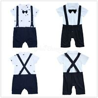 Infant Baby Boys Gentleman Bowtie Romper Wedding Formal Suit One-piece Outfit