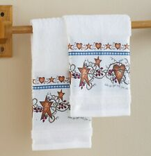 Country Hearts and Stars Hand Towels For Bathroom Or Kitchen - Set of 2 Towels
