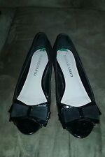 Franco Sarto Black Flat Peep Toe shoes bows Sz 8 Womens MOTHERS DAY gift spring