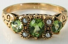 DIVINE 9CT GOLD GRASS GREEN PERIDOT & PEARL VINTAGE INS RNG FREE RESIZE