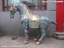"Long 45"" Huge China Royal 100% Pure Bronze cloisonne Lucky War Horse Statue"