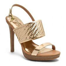 NEW - MSRP $228 - COACH STEFFI Platform High Heels, Style Q1861, Gold, Size 9 B