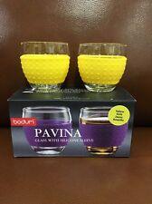 Bodum Pavina 3fl oz Glass Yellow Silicone Sleeve Set of 2 New In Box [SDCC-4B]