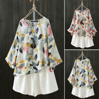 ZANZEA Women Bell Sleeve Shirt Tops Floral Print Round Neck Loose Blouse Plus