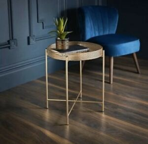 Brand New Tromso Gold Tray Metal Table With Removable Tray Top Max Loading: 10kg