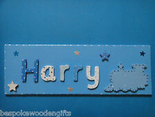 Wooden Name Plaque Door Wall Children BOYS Bedroom New Baby Nursery Personalised