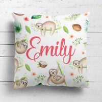 Personalised Rainforest Sloth Kids Childrens Cushion Cover Pillow Case & Filling