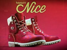 "TIMBERLAND LIMITED EDITION NAUGHTY OR NICE 6"" PREMIUM BOOTS SIZE 10 RED BOOTS"