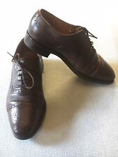 Grenson, English Made-Brown Leather-Lace Up-Brogue Shoes. 7.5 F/G