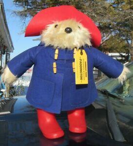 "VINTAGE PADDINGTON TEDDY BEAR 20"" BLUE COAT RED HAT BOOTS RAINBOW DESIGNS LARGE"