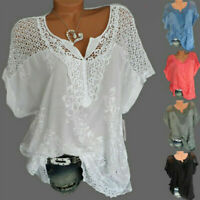 Womens Batwing Short Sleeve Lace Hollow Baggy Casual T-Shirt Tops Blouse~