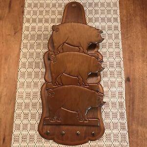 Wood Carved Pig Mail Organizer Holder 3 Tiers Hooks for Keys Vintage