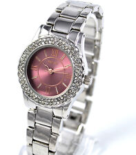 Henley Ladies Watch Sparkly Crystal Diamante Rim Dark Pink Dial Silvertone
