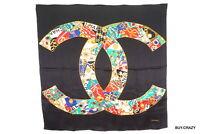 CHANEL Vintage large format scarf 100% silk Coco mark Jewelery Stole Black 2229k