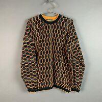 Vintage Tundra Textured Embroidered Biggie Cosby Orange Black Sweater XL