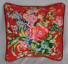 "Ralph Lauren Belle Harbor Red Floral Custom Pillow with Satin Trim Cord 12"""