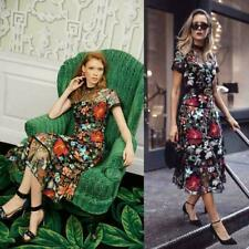 Runway Lady Flower Embroidery Floral Mesh Evening Party Cocktail Long Dress LITG