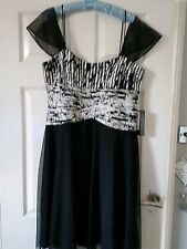 JS BOUTIQUE BLACK SILVER EVENING DRESS 16 NWT HOUSE OF FRASER WEDDING CRUIISE