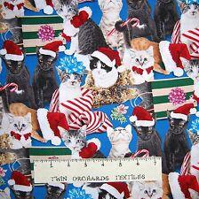 Christmas Fabric - Holiday Friends Cat Allover Blue - Elizabeth's Studio YARD