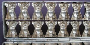 ANTIQUE HEAVY METAL HINGED CHOCOLATE MOLD 18 CAT