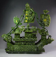 Large Chinese Hand Carved 100% Natural Jade Dragon Incense statue Dragon Boat