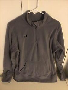 Under Armour Women's Sz L Semi-fit Fleece Kangaroo Pocket 1/4 Zip Pullover Gray