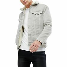 New Mens Ex-Store Fleece Fur Lined Denim Jacket Coat Long Sleeve Sherpa Collar