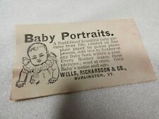 Vintage Advertising Business Card Baby Portraits Wells Richardson & Co