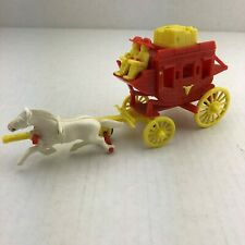 Vintage Hard Plastic Red US Mail Stagecoach Western Toy Horse Wild West Cowboys
