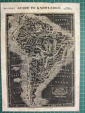 1834 MAP REVERSED WOODBLOCK PRINT ~ SOUTH AMERICA COLOMBIA SOLIMOENS PERU BRAZIL