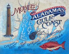 Mobile Bay Alabama Beaches retro style Print vintage map art lighthouse dauphin