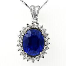 "11.75 Ct Blue Sapphire Round F VS1 Diamond Pendant 14k White Gold Women's 16"""