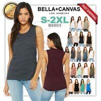 Bella + Canvas Women's Flowy Scoop Muscle  GYM Tank Top Low Cut Armholes 8803
