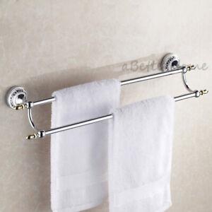 Chrome Bathroom Double Towel Bar Rail Rack Holder Wall Mounted Hanger Shelf
