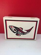 Salmon Wood Box Hinged Lid 8.5 x 6 Decorative Unique ***Fast Shipping***