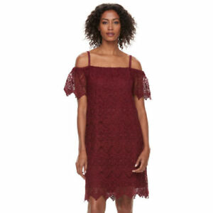 Hope & Harlow crochet lace off the shoulder dress red women's plus size 20W