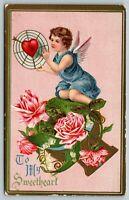 Valentine~Cupid in Blue Holds Heart Target~Pink Roses Keyhole~Gold Leaf Emboss