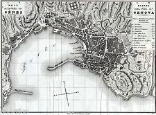 PIANTA DI GENOVA. Carta Topografica.Acquaforte.Allodi.ARTARIA.Stampa Antica.1842