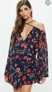 BNWT Missguided Navy Cold Shoulder Wrap Tie Floral Shift Dress Size 12 🌹