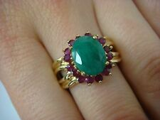 14K YELLOW GOLD EMERALD AND RUBYS LADIES DESIGNER RING 5.4 GRAMS SIZE 7.75