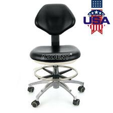 Doctor Assistant Dental Stool Adjustable Mobile Backrest Seat Black Chair