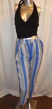 Ladies Slim Fit Leg Striped Blue white Black Trousers Pants Summer Casual 6-8