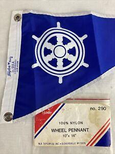 """Vtg 50s 60s Taylor Boat Flag Banner Pennant Helm Wheel Blue White 10"""" x 16"""" NOS"""