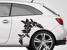 FLORAL FLOWER GRAPHICS BOTH SIDES CAR VAN  CUSTOM VINYL DECAL STICKERS